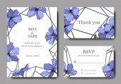 Vector Blue Flax floral botanical flower. Wild spring leaf wildflower isolated. Engraved ink art. Wedding background card floral decorative border. Elegant card illustration graphic set banner.