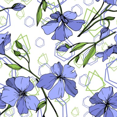 Vector Blue Flax floral botanical flower. Wild spring leaf wildflower isolated. Engraved ink art. Seamless background pattern. Fabric wallpaper print texture.