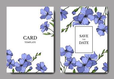 Vector Blue Flax floral botanical flower. Wild spring leaf wildflower isolated. Engraved ink art. Wedding background card floral decorative border. Elegant card illustration graphic set banner. clip art vector