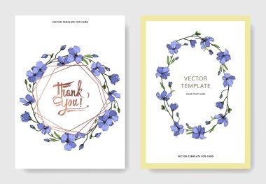 Vector Blue Flax floral botanical flower. Wild spring leaf wildflower isolated. Engraved ink art. Wedding background card floral decorative border. Elegant card illustration graphic set banner. stock vector