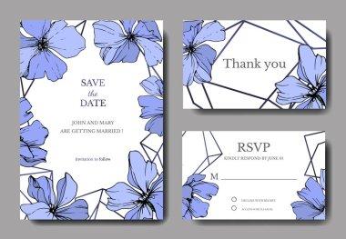 Vector Blue Flax floral botanical flower. Engraved ink art. Wedding background card floral decorative border. Thank you, rsvp, invitation elegant card illustration graphic set banner. stock vector