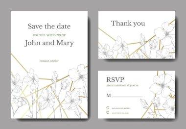 Vector Flax floral botanical flower.Black and white engraved ink art. Wedding background card floral decorative border. Thank you, rsvp, invitation elegant card illustration graphic set banner.
