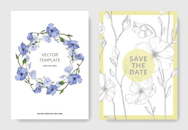 Vector Blue Flax floral botanical flower. Engraved ink art. Wedding background card floral decorative border. Thank you, rsvp, invitation elegant card illustration graphic set banner. clip art vector