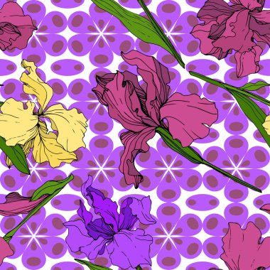 Vector Yellow, purple and maroon Iris floral botanical flower. Wild spring leaf wildflower isolated. Engraved ink art. Seamless background pattern. Fabric wallpaper print texture. clip art vector
