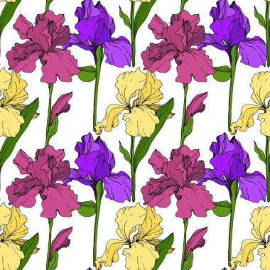Vector Yellow, purple and maroon Iris floral botanical flower. Wild spring leaf wildflower isolated. Engraved ink art. Seamless background pattern. Fabric wallpaper print texture. stock vector