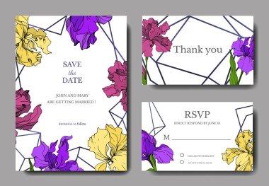 Vector Iris floral botanical flower. Wild spring leaf wildflower isolated. Engraved ink art. Wedding background card floral decorative border. Elegant card illustration graphic set banner. stock vector