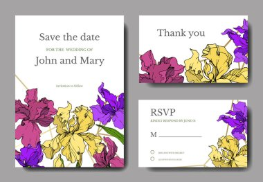 Vector Iris floral botanical flower. Wild spring leaf wildflower isolated. Engraved ink art. Wedding background card floral decorative border. Elegant card illustration graphic set banner. clip art vector
