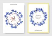 Fotografia Lino blu floreale botanica fiore del vettore. Arte di inchiostro inciso. Matrimonio sfondo floreale decorativo bordo della scheda. Grazie, rsvp, invito carta elegante illustrazione immagine set banner