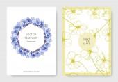 Fotografie Vektor modré len květinové botanické květina. Ryté inkoust umění. Svatební pozadí karty květinové ozdobný okraj. Děkuji, rsvp, pozvání elegantní karty obrázku grafiky nastavit nápis