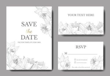 Vector Narcissus floral botanical flower. Black and white engraved ink art. Wedding background card floral decorative border. Elegant card illustration graphic set banner. clip art vector