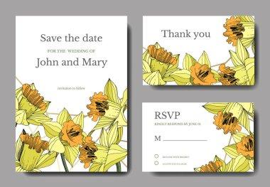 Vector Yellow Narcissus floral botanical flower. Engraved ink art. Wedding background card floral decorative border. Elegant card illustration graphic set banner. stock vector