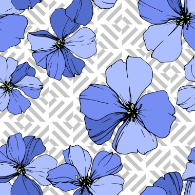 Vector Blue Flax floral botanical flower. Wild spring leaf wildflower isolated. Engraved ink art. Seamless background pattern. Fabric wallpaper print texture. clip art vector