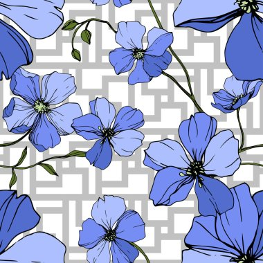 Vector Blue Flax floral botanical flower. Wild spring leaf wildflower isolated. Engraved ink art. Seamless background pattern. Fabric wallpaper print texture. stock vector