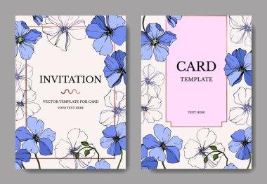 Vector Blue Flax floral botanical flower. Engraved ink art. Wedding background card floral decorative border. Thank you, rsvp, invitation elegant card illustration graphic set banner. clip art vector