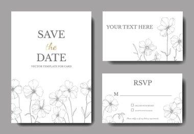 Vector Flax floral botanical flower.Black and white engraved ink art. Wedding background card floral decorative border. Thank you, rsvp, invitation elegant card illustration graphic set banner. clip art vector