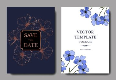 Vector Blue Flax floral botanical flower. Engraved ink art. Wedding background card floral decorative border. Thank you, rsvp, invitation elegant card illustration graphic set banner. stock vector