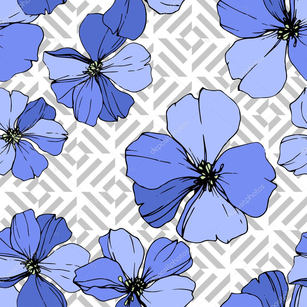 Vector Blue Flax floral botanical flower. Wild spring leaf wildflower isolated. Engraved ink art. Seamless background pattern. Fabric wallpaper print texture. clipart vector