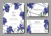 Vector Blue iris floral botanical flower. Wild spring leaf wildflower isolated. Engraved ink art. Wedding background card floral decorative border. Elegant card illustration graphic set banner.