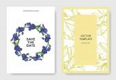 Vektor kék írisz virág botanikai virág. Vad tavaszi levél vadvirág elszigetelt. Vésett tinta art. Esküvői háttér kártya virágos dekoratív határok. Elegáns kártyával ábrán grafikus banner beállítása.
