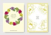 Fotografie Vektorové Pivoňka květinové botanické květin. Divoký jarní listové wildflower izolován. Ryté inkoust umění. Svatební pozadí karty květinové ozdobný okraj. Grafická ilustrace elegantní karty sada nápis