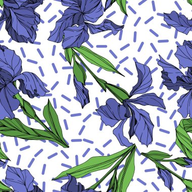 Vector Blue iris floral botanical flower. Wild spring leaf wildflower isolated. Blue and green engraved ink art. Seamless background pattern. Fabric wallpaper print texture. stock vector
