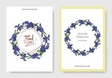Vector Blue iris floral botanical flower. Wild spring leaf wildflower isolated. Engraved ink art. Wedding background card floral decorative border. Elegant card illustration graphic set banner. stock vector