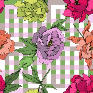 Vector Peony floral botanical flower. Wild spring leaf wildflower isolated. Engraved ink art. Seamless background pattern. Fabric wallpaper print texture. clip art vector