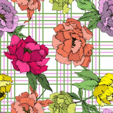 Vector Peony floral botanical flower. Wild spring leaf wildflower isolated. Engraved ink art. Seamless background pattern. Fabric wallpaper print texture. stock vector