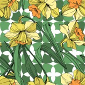 Vector Yellow Narcissus floral botanical flower. Wild spring leaf wildflower isolated. Engraved ink art. Seamless background pattern. Fabric wallpaper print texture.
