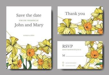 Vector Yellow Narcissus floral botanical flower. Wild spring leaf isolated. Engraved ink art. Wedding background card floral decorative border. Elegant card illustration graphic set banner. stock vector