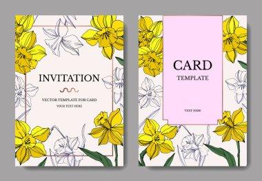 Vector Yellow Narcissus floral botanical flower. Wild spring leaf isolated. Engraved ink art. Wedding background card floral decorative border. Elegant card illustration graphic set banner. clip art vector