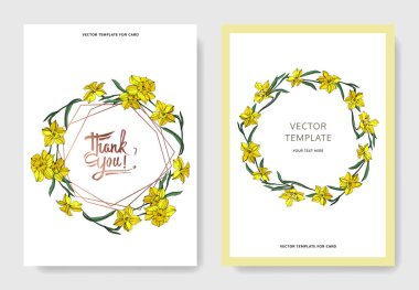 Vector Yellow Narcissus floral botanical flower. Wild spring leaf isolated. Engraved ink art. Wedding background card floral decorative border. Elegant card illustration graphic set banner. stock vector