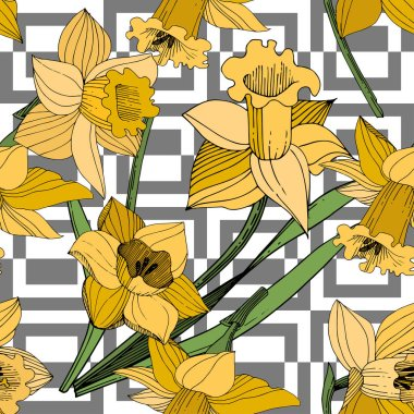 Vector Yellow Narcissus floral botanical flower. Wild spring leaf wildflower isolated. Engraved ink art. Seamless background pattern. Fabric wallpaper print texture. clip art vector