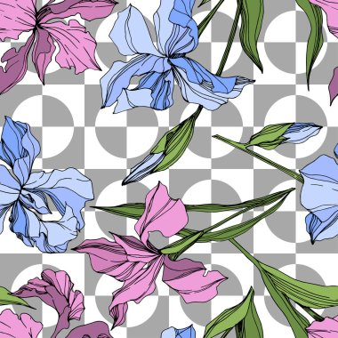Vector pink and blue irises. Engraved ink art. Seamless background pattern. Fabric wallpaper print texture. clip art vector