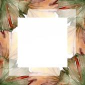Zelené červené ginkgo biloba listy. Sada akvarel pozadí obrázku. Frame hranice ozdoba náměstí.