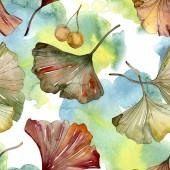Green red ginkgo biloba leaves. Watercolor background illustration set. Seamless background pattern.