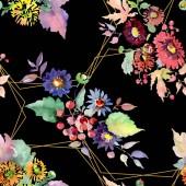 Kytice s květy a plody. Sada akvarel pozadí obrázku. Vzor bezešvé pozadí