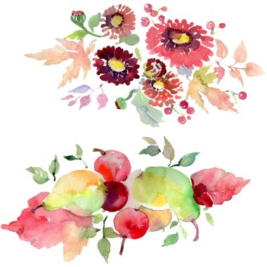 Bouquets with flowers and fruits. Watercolor background illustration set. stock vector