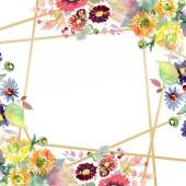 Kytice s květy a plody. Sada akvarel pozadí obrázku. Frame hranice ozdoba náměstí