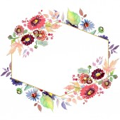 Kytice s květy a plody. Sada akvarel pozadí obrázku. Frame hranice ozdoba náměstí.