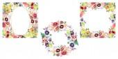 Fotografie Sträuße mit Blumen und Früchten. Aquarell Hintergrund Illustration-Set. Frame Border Ornament Quadrat