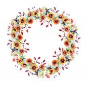 Bouquet virágok és bogyók. Virágos botanikai virág. Vad tavaszi levél vadvirág elszigetelt. Akvarell háttér illusztráció készlet. Akvarell rajz divat aquarelle elszigetelt.