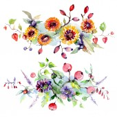 Fotografie Bouquet with flowers and berries. Watercolor background illustration set. Isolated bouquet illustration element.