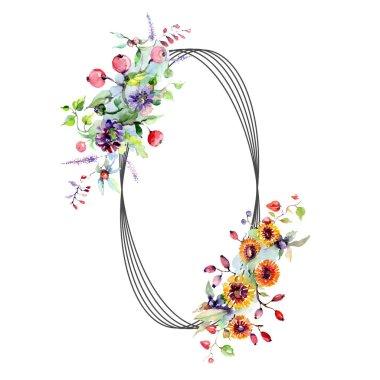 Buket çiçek ve meyveleri ile. Botanik çiçek. Vahşi bahar yaprak izole kır çiçeği. Suluboya arka plan illüstrasyon küme. Suluboya çizim moda aquarelle izole.