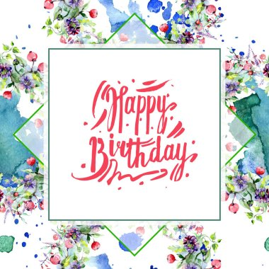 Bouquets with flowers and berries. Watercolor background illustration set. Greeting card with happy birthday lettering. stock vector