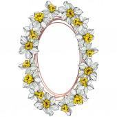 Vector bílý Narcis květy se zelenými listy. Ryté inkoust umění na bílém pozadí. Frame hranice ornament se kopie prostoru.
