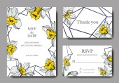 Vector elegant wedding invitation cards with white narcissus flowers illustration. Engraved ink art.