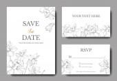 Vektor elegáns esküvői meghívók fehér nárcisz virág illusztráció. Vésett tinta art.