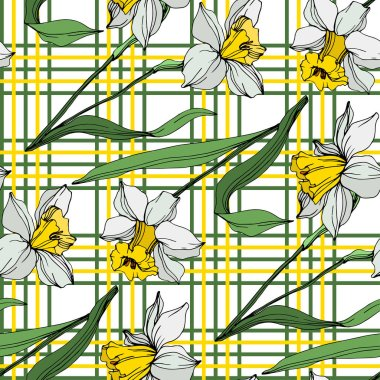 Vector white and yellow narcissus flowers with green leaves. Engraved ink art on white background. Seamless background pattern. clip art vector