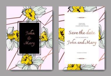 Vector elegant wedding invitation cards with white narcissus flowers illustration. Engraved ink art. clip art vector